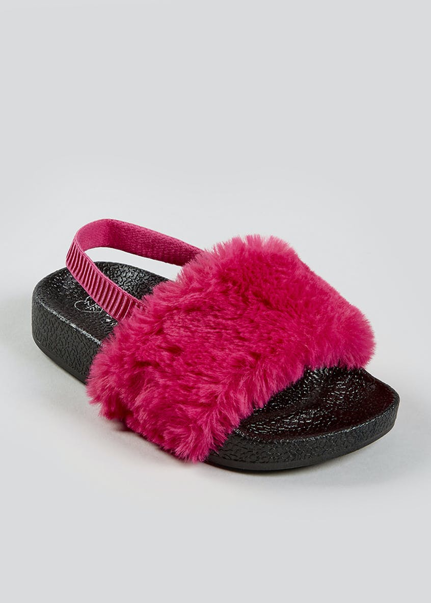 Girls Faux Fur Sliders (Younger 4-9)