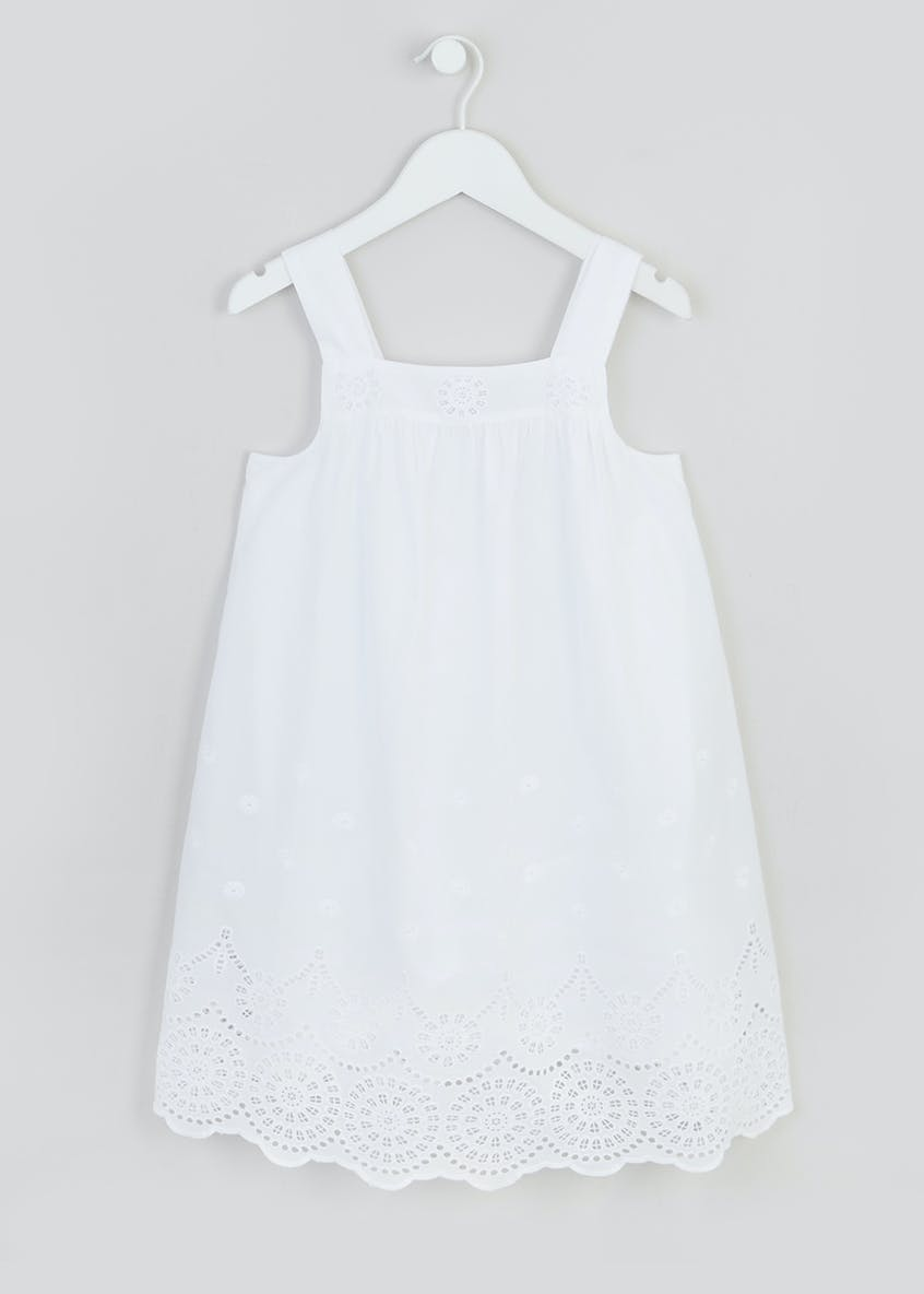 Girls White Sleeveless Broderie Dress (4-13yrs)