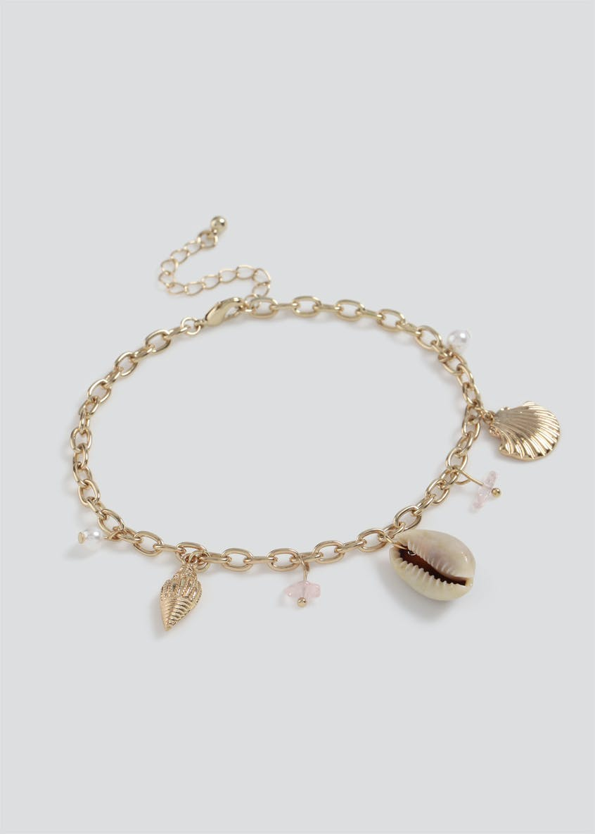 Shell and Charm Drop Anklet