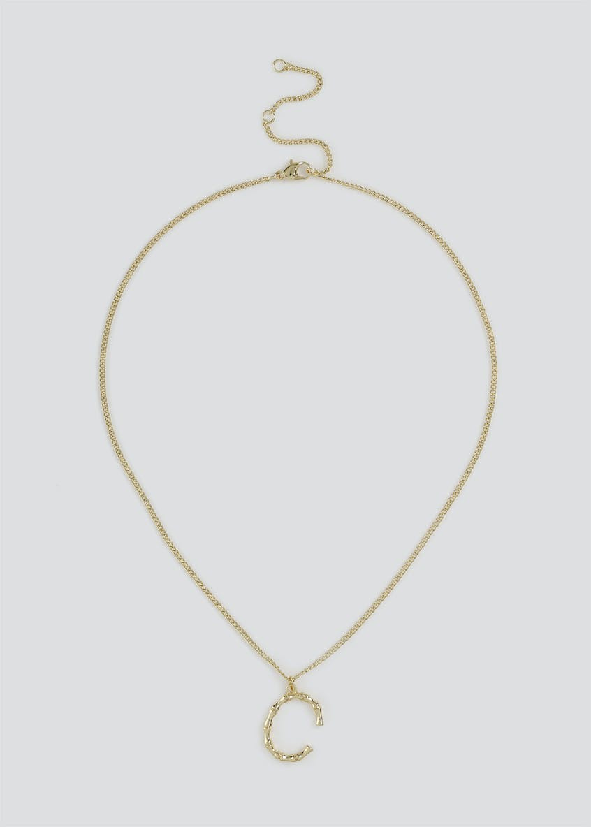 Initial 'C' Bamboo Ditsy Necklace