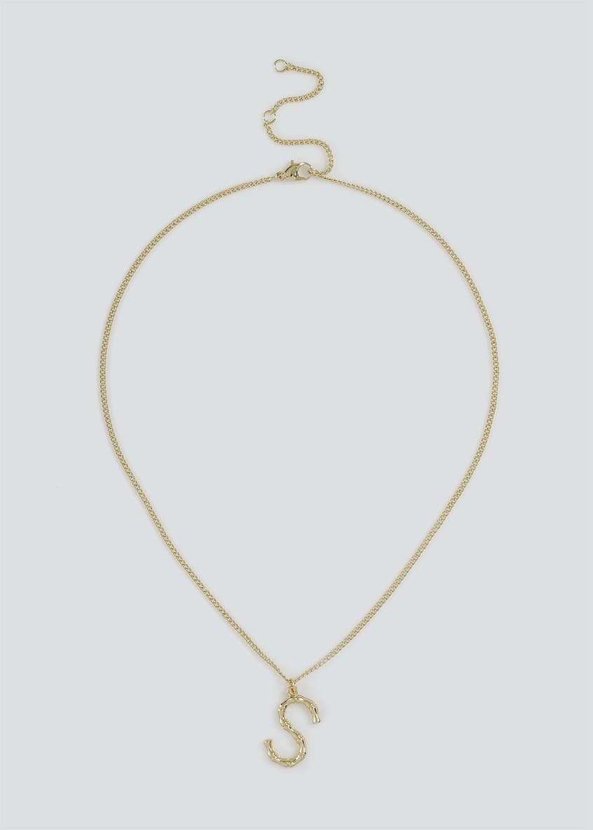 Initial 'S' Bamboo Ditsy Necklace