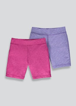 Girls Souluxe 2 Pack Basic Cycling Shorts (4-13yrs)