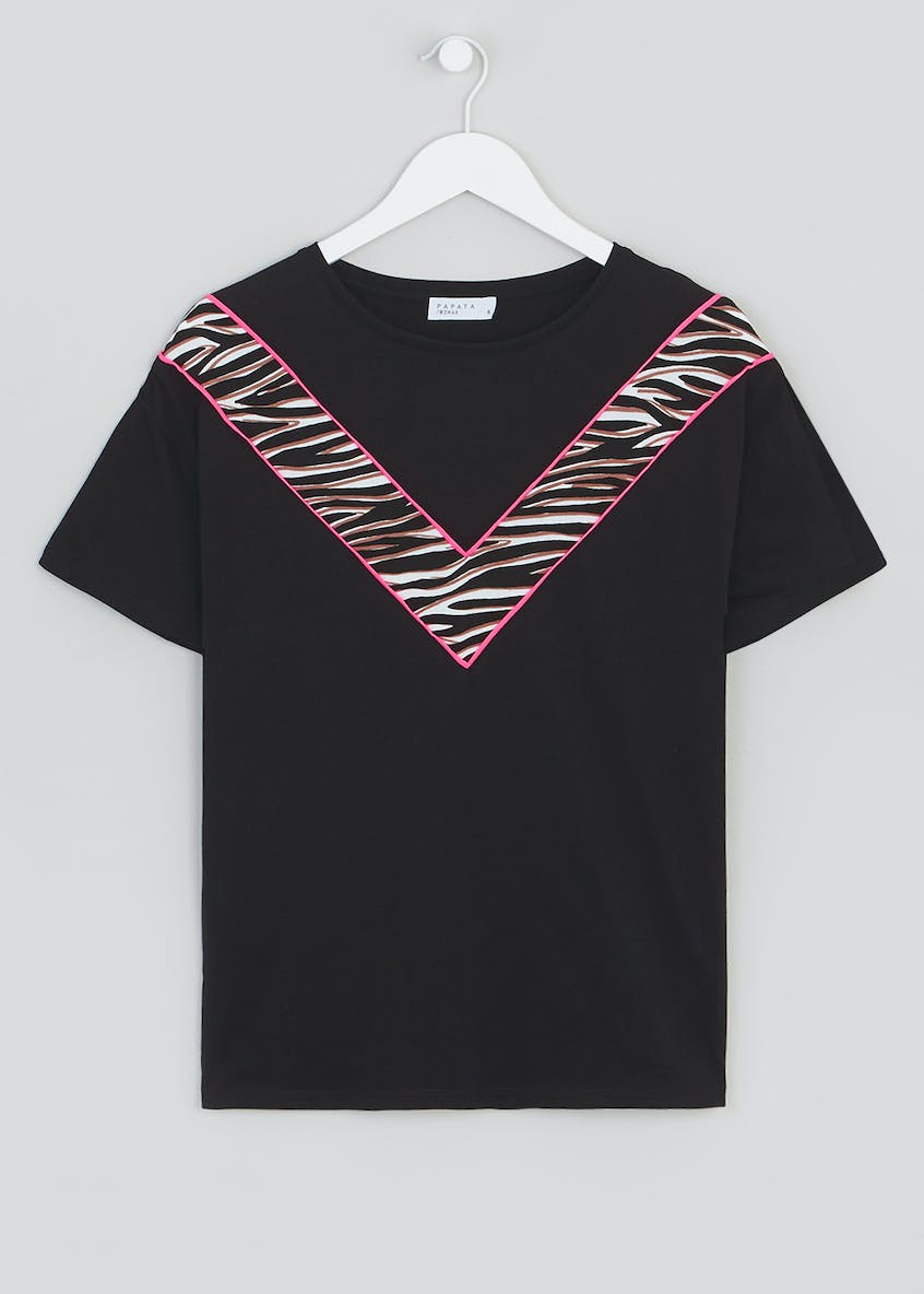 Neon Animal Print Chevron Co-Ord T-Shirt