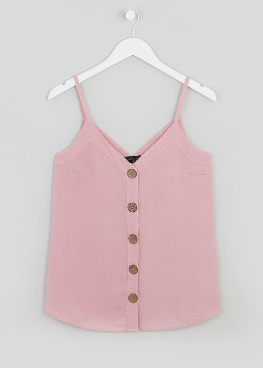 Button Front Linen Look Cami