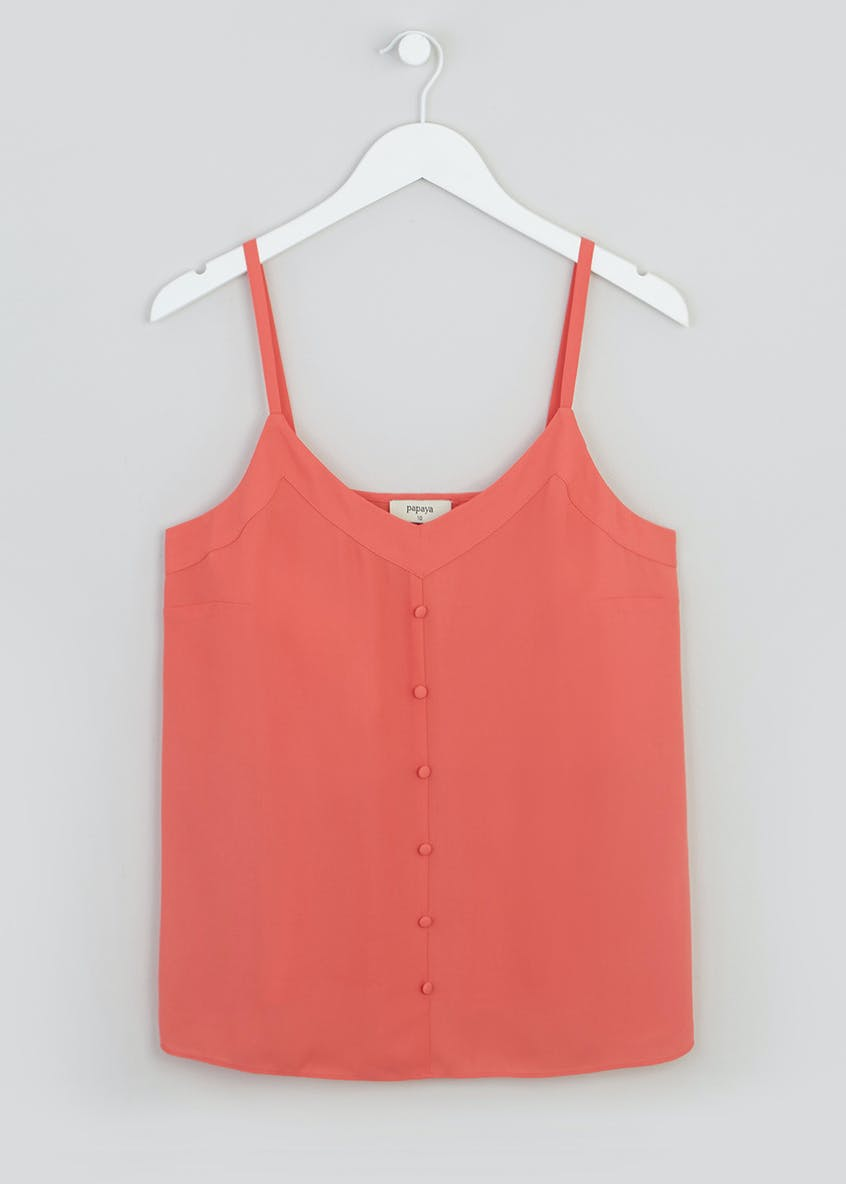 Coral Button Front Cami