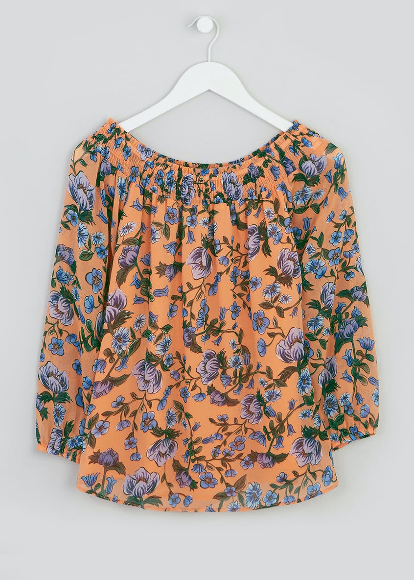 Coral Long Sleeve Floral Bardot Blouse