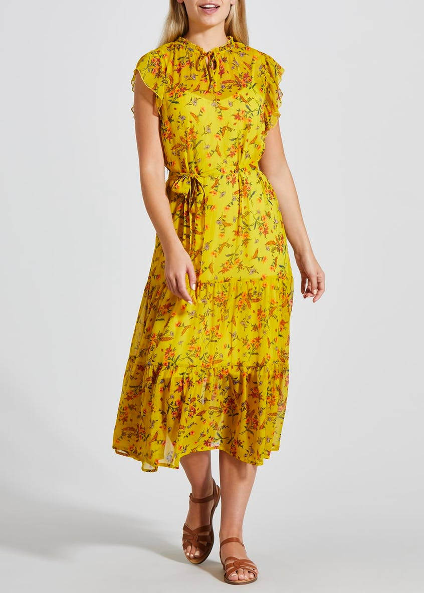 Floral Chiffon Tiered Belted Dress