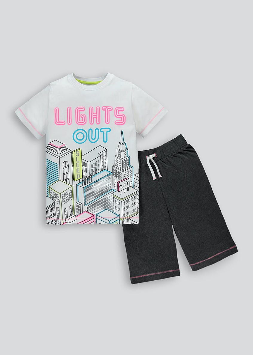 Boys Lights Out Slogan Pyjama Set (4-13yrs)