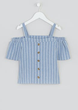 Girls Candy Couture Stripe Cold Shoulder Top (9-16yrs)