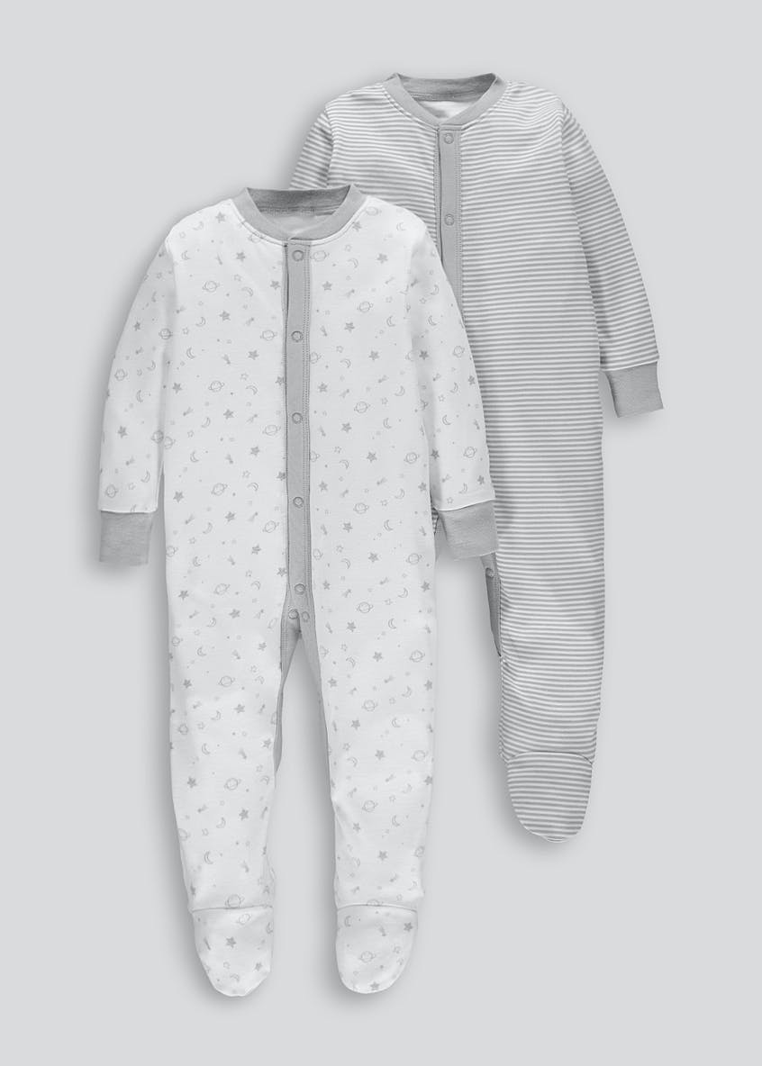 Unisex 2 Pack Baby Grows (Tiny Baby-18mths)