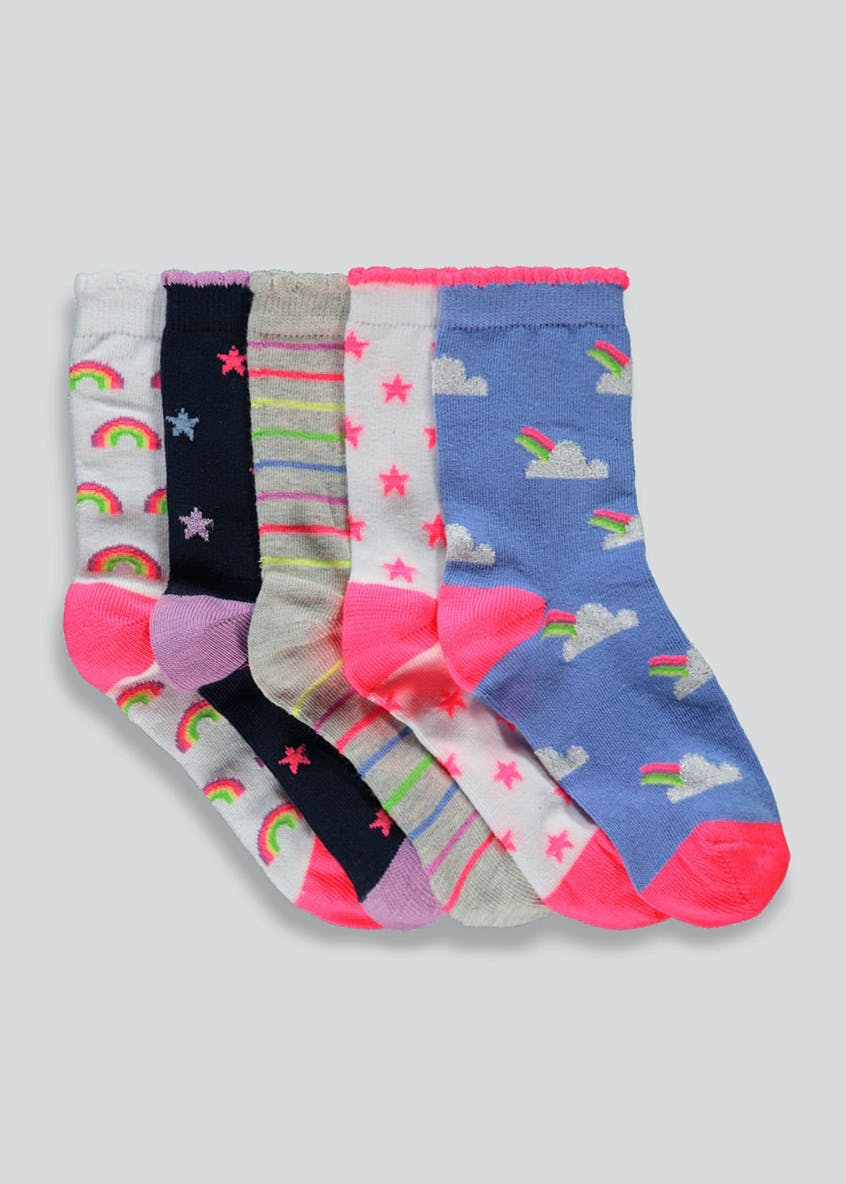 Kids 5 Pack Unicorn Socks (Younger 6-Older 5.5)
