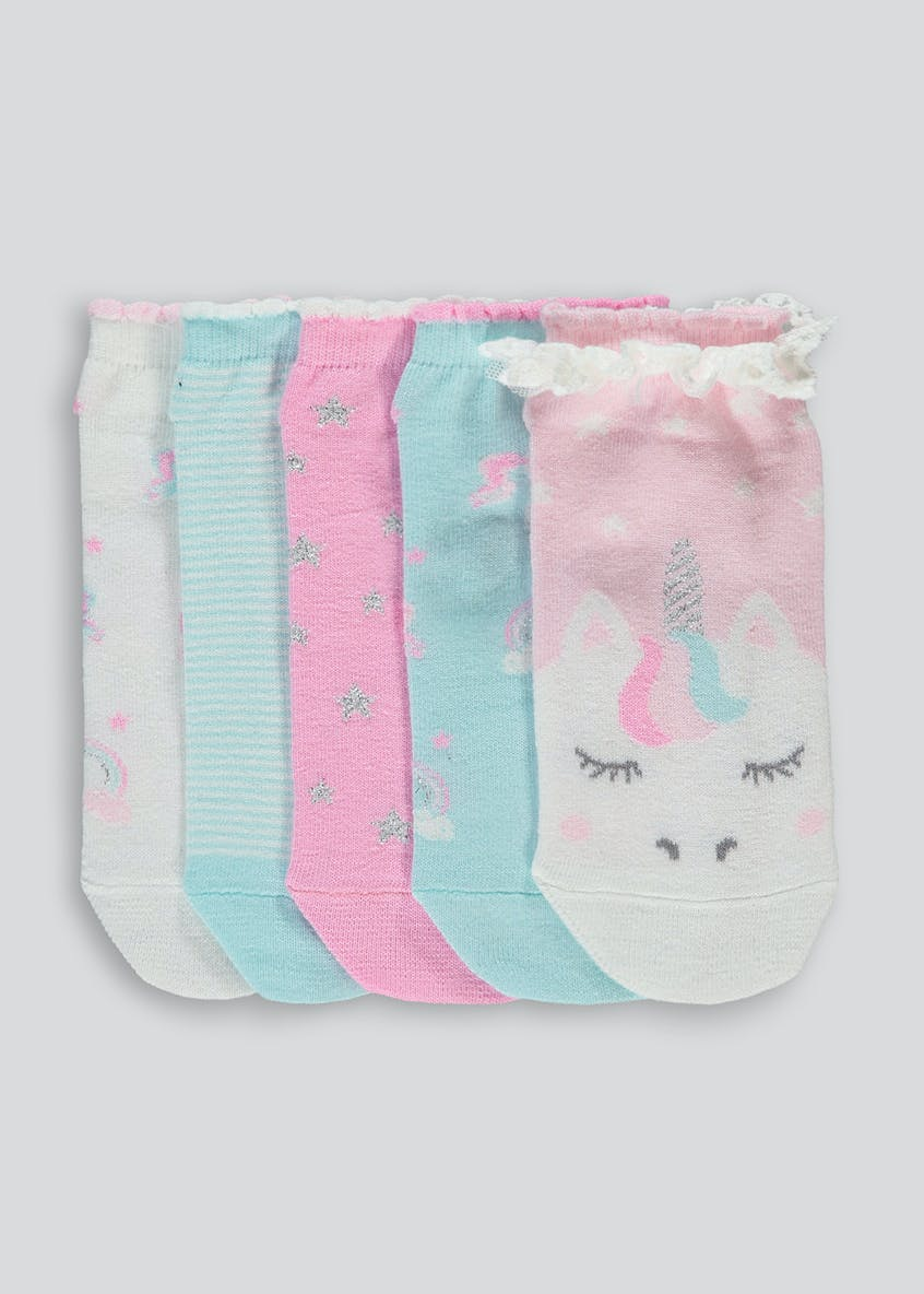 Kids 5 Pack Unicorn Trainer Socks (Younger 6-Older 5.5)