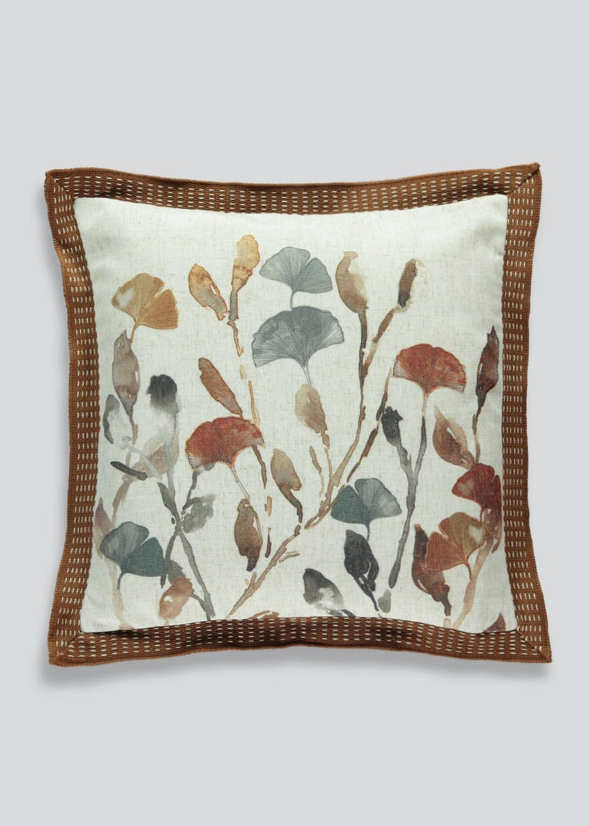 Watercolour Ginkgo Leaf Print Cushion (46cm x 46cm)