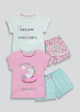 Kids 2 Pack Unicorn Pyjamas (4-13yrs)