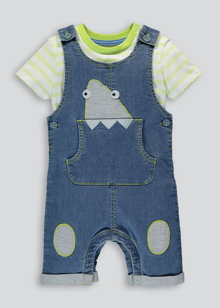 Unisex Shark Dungarees & T-Shirt Set (Newborn-18mths)