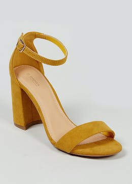 Mustard Block Heel Strappy Sandals