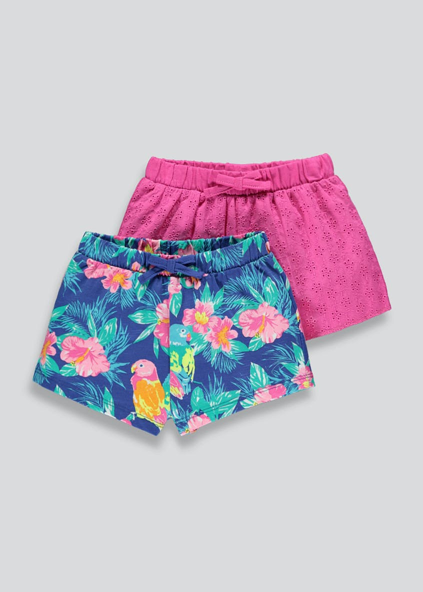 Girls 2 Pack Broderie & Tropical Print Shorts (9mths-6yrs)