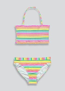 Girls Candy Couture Stripe Shirred Bikini Top (9-16yrs)