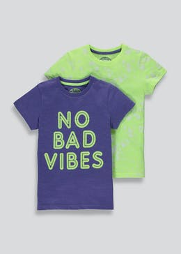 Boys 2 Pack No Bad Vibes Slogan T-Shirts (4-13yrs)
