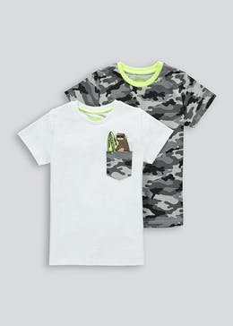 Boys 2 Pack Camo Sloth T-Shirts (4-13yrs)