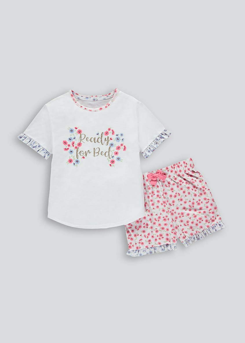 Mini Me Girls Floral Slogan Short Pyjama Set (4-13yrs)