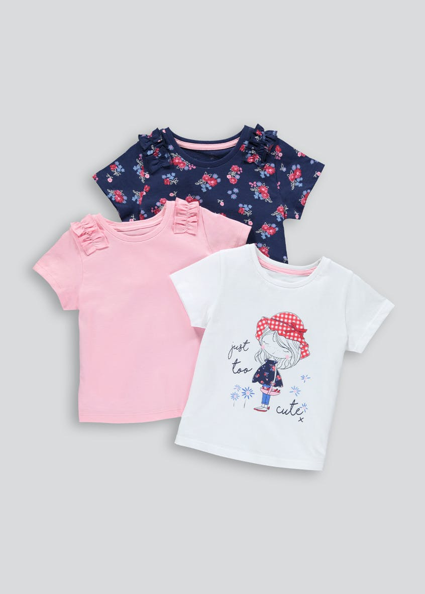 Girls 3 Pack Floral Frill T-Shirts (9mths-6yrs)