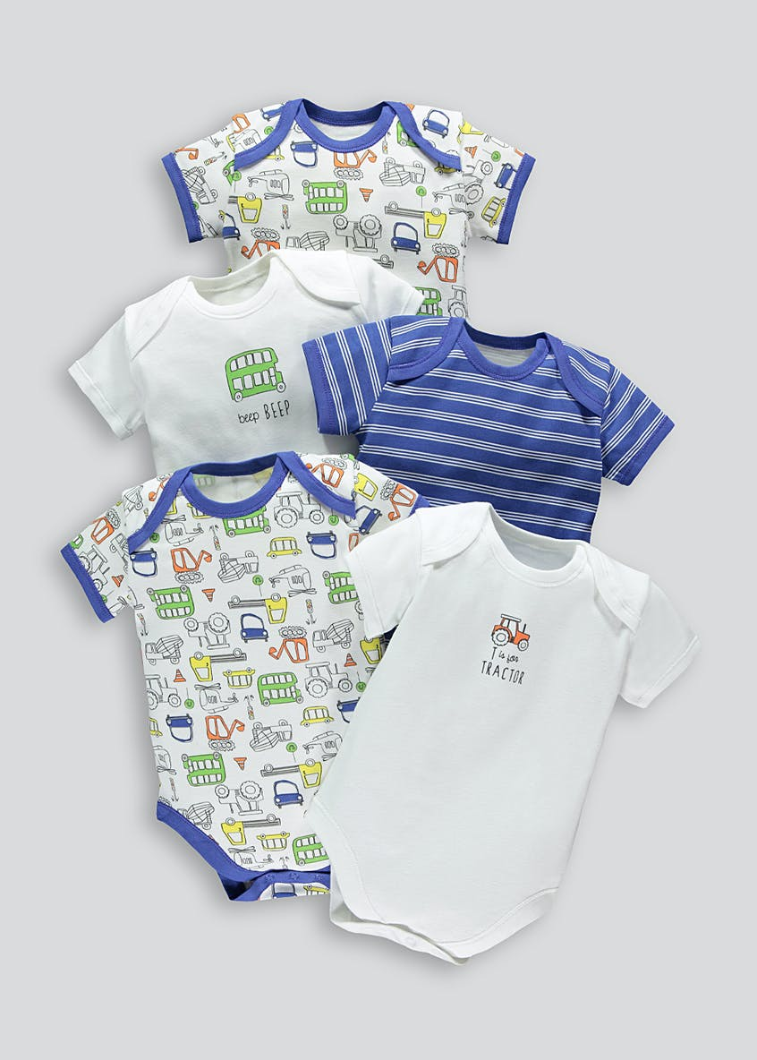 Unisex 5 Pack Cars Bodysuits (Tiny Baby-23mths)