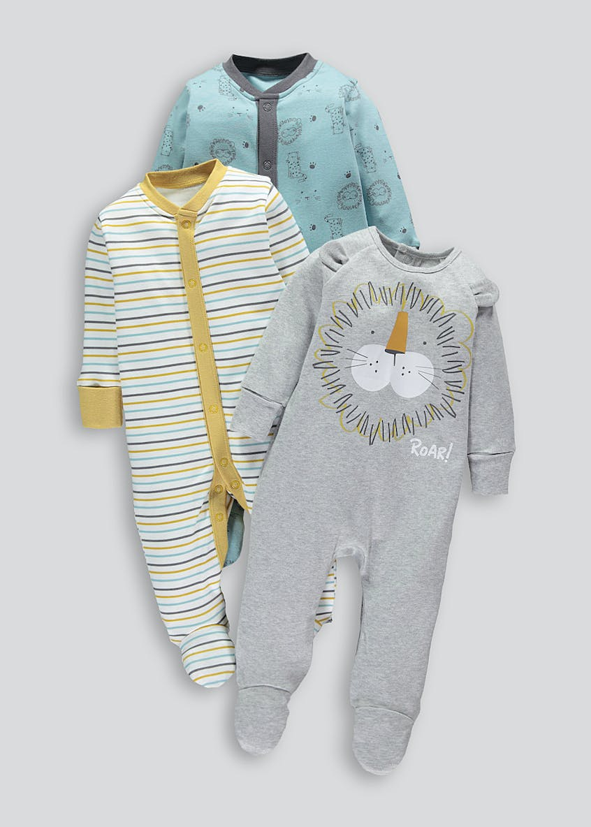 Unisex 3 Pack Lion Baby Grows (Tiny Baby-18mths)