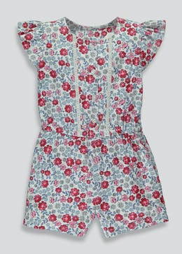 Girls Floral Woven Playsuit (9mths-6yrs)