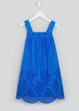 Girls Broderie Hem Dress (4-13yrs)