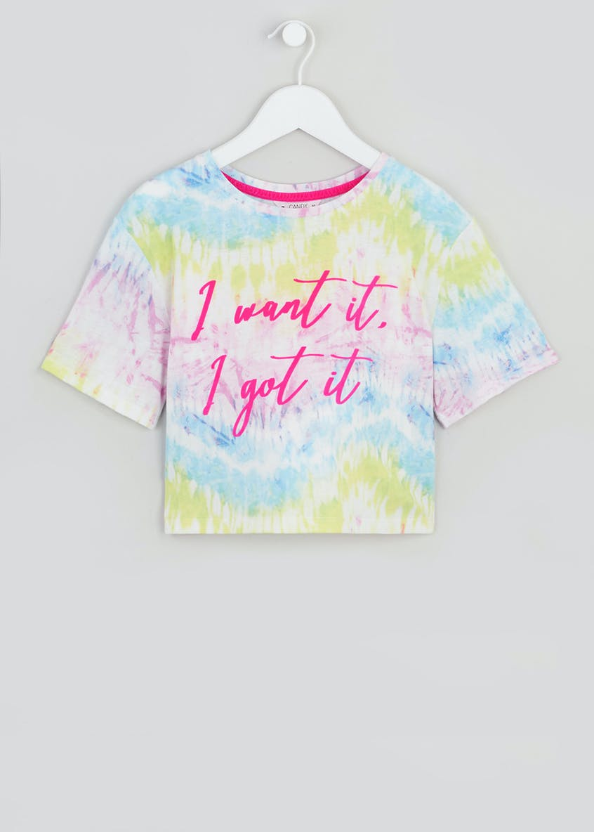 Girls Candy Couture Slogan Tie Dye Cropped T-Shirt (9-16yrs)