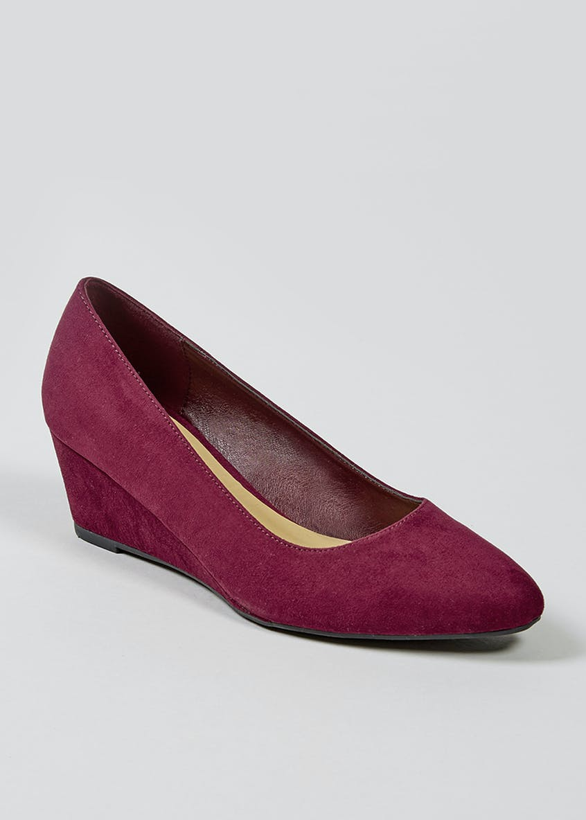 Burgundy Wedge Court Shoes