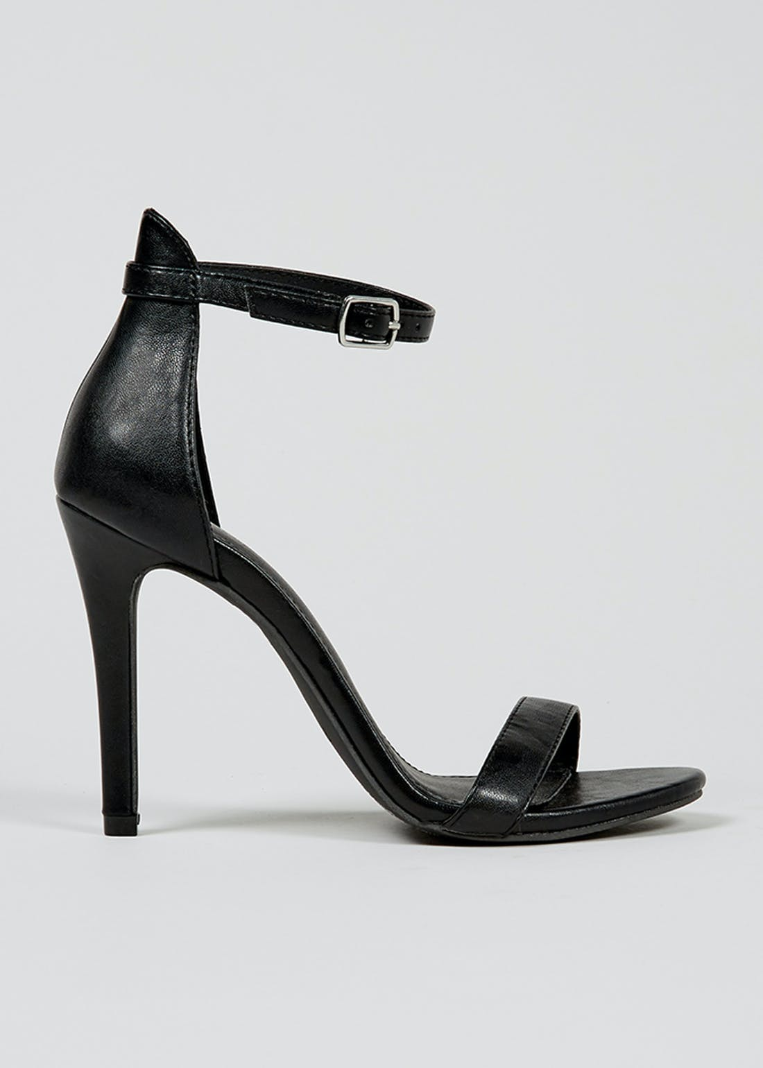 Black Barely There Strappy Sandals