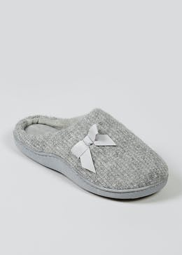 Grey Hidden Support Mule Slippers