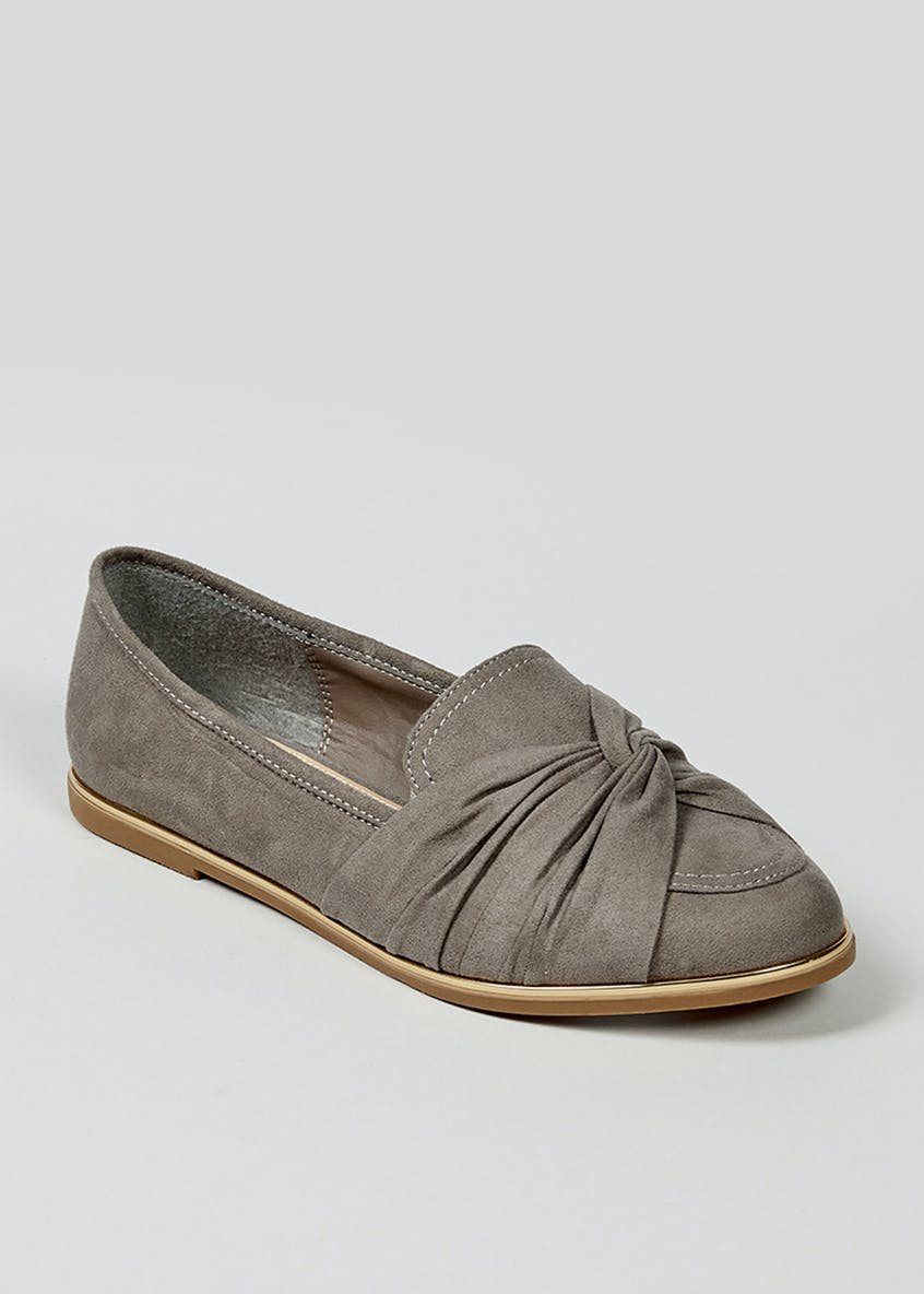 Wide Fit Knot Front Loafers