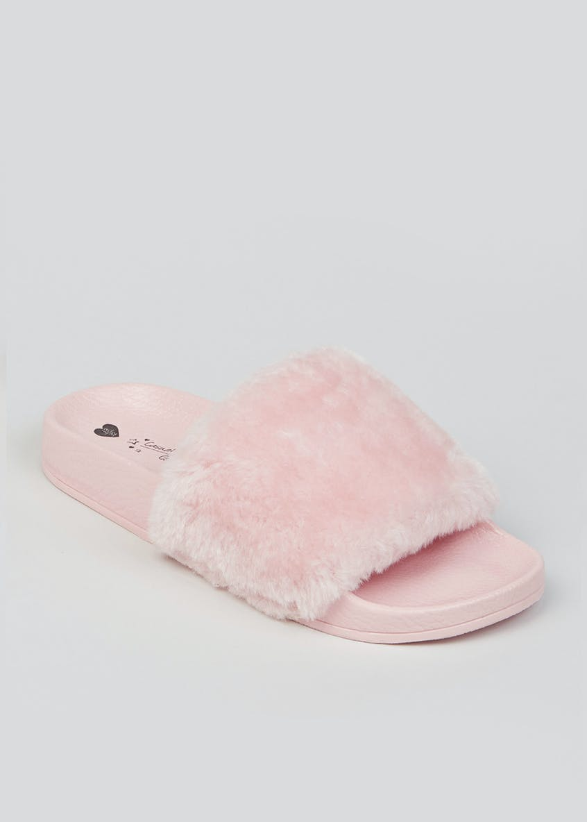 Girls Faux Fur Sliders (Younger 12-Older 5)
