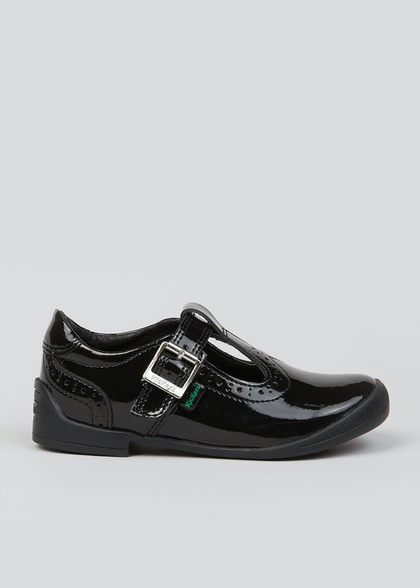 Girls Kickers Black Bridie Brogue Shoes (Younger 5-12)