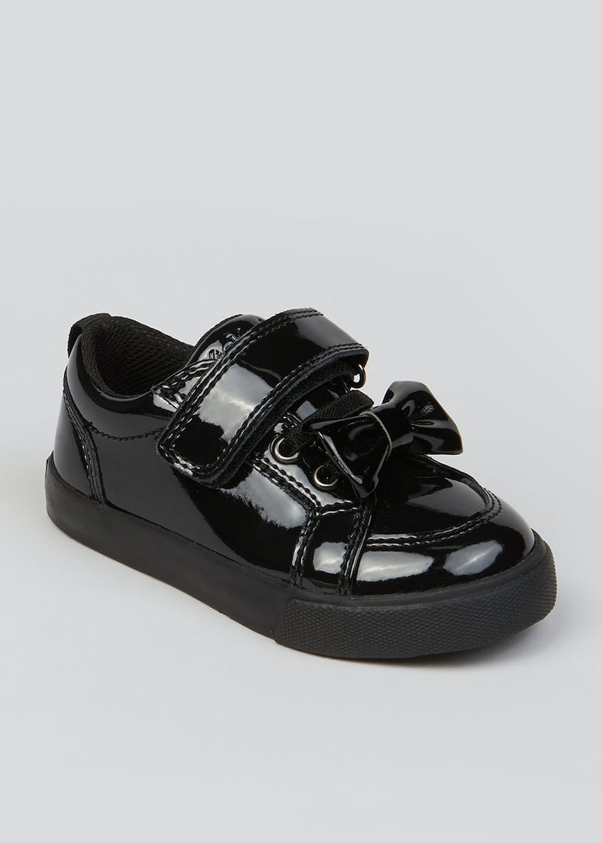 Girls Kickers Black Tovni Bow Strap Shoes (Younger 5-12)