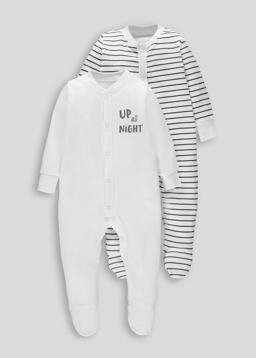 Unisex 2 Pack Monochrome Baby Grows (Tiny Baby-18mths)