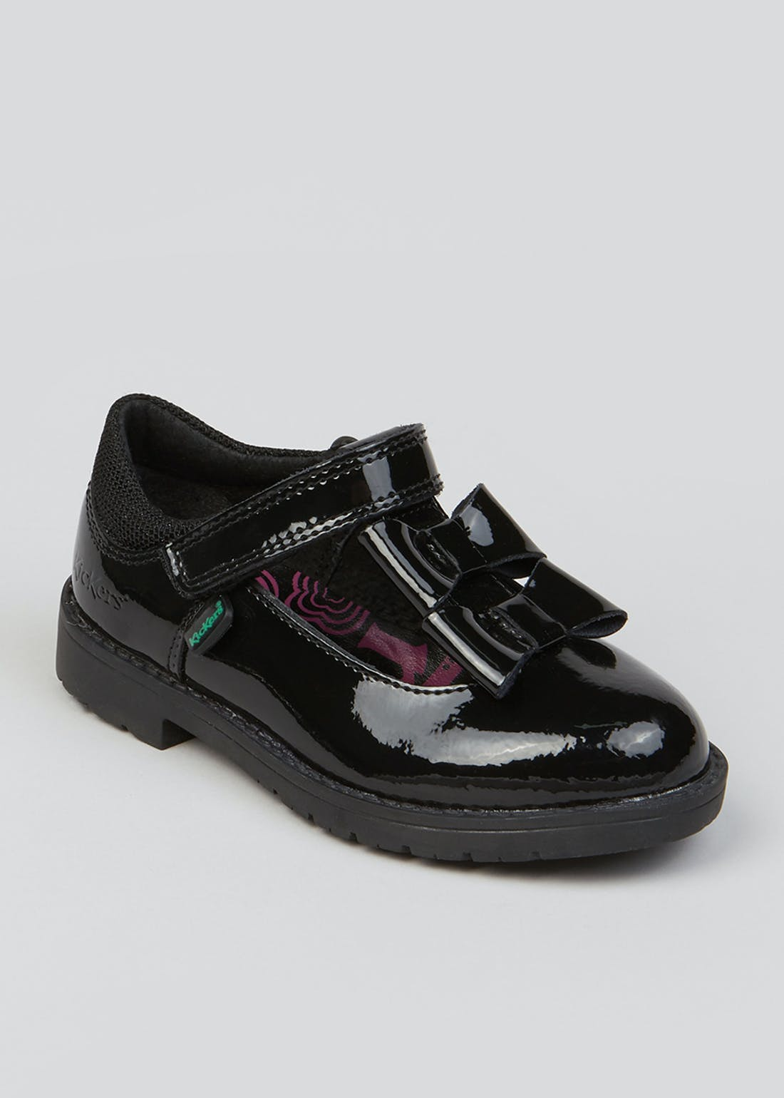 Girls Kickers Black Lachly Bow Patent Shoes (Younger 5-12)