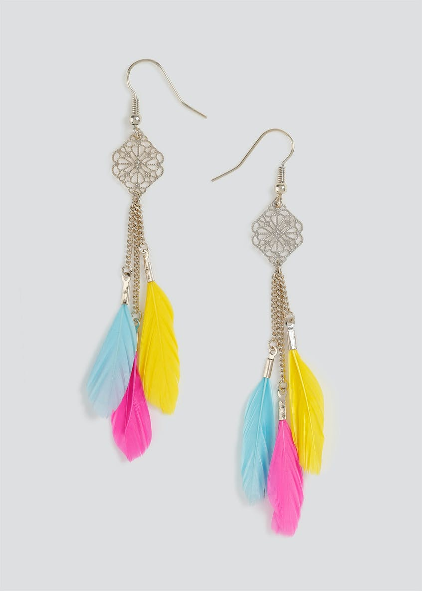 Feather Charm Drop Earrings.