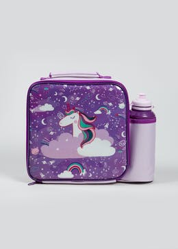 Kids Unicorn Lunch Bag & Water Bottle (23cm x 20cm x 9cm)