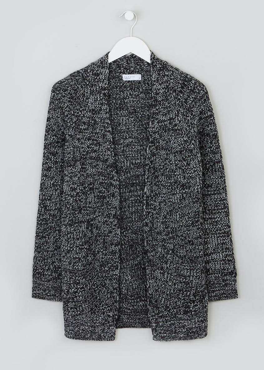 Black Marl Ribbed Knit Cardigan