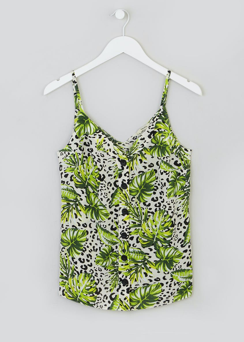 Leaf Animal Print Button Front Cami