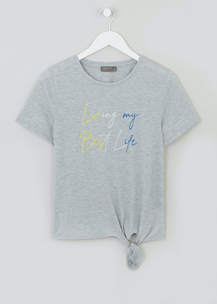 Papaya Petite Best Life Tie Front Slogan T-Shirt