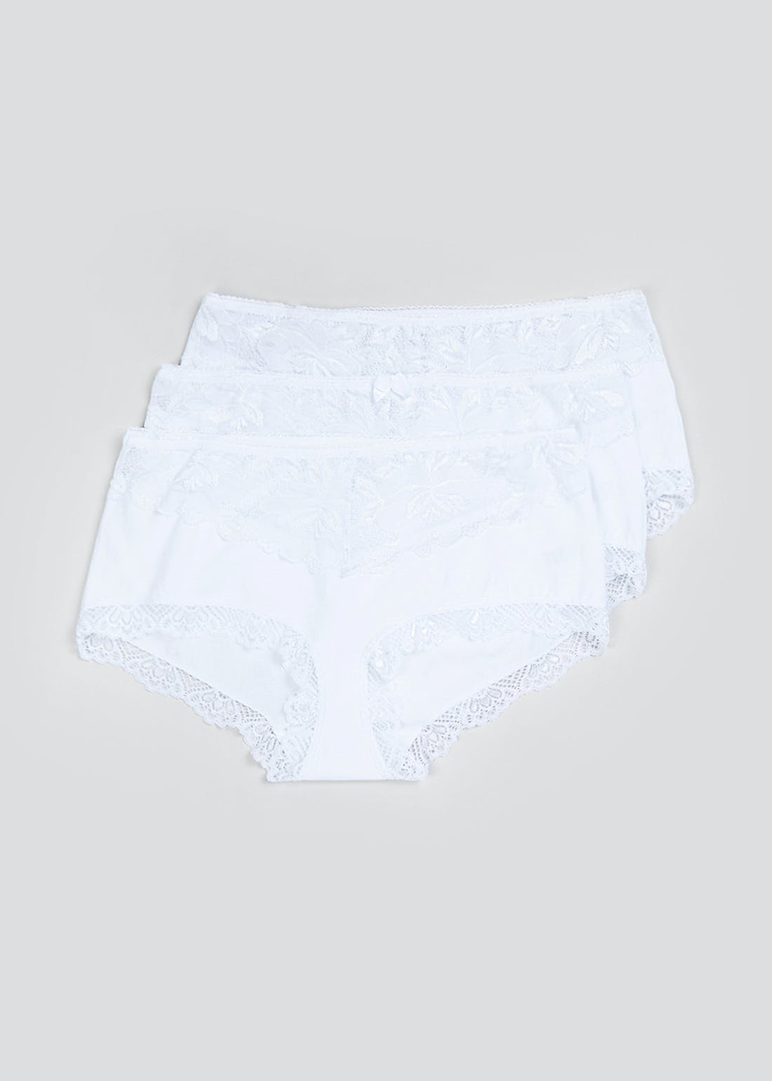 3 Pack Lace Panel Midi Knickers