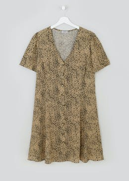Papaya Curve Leopard Print Tea Dress