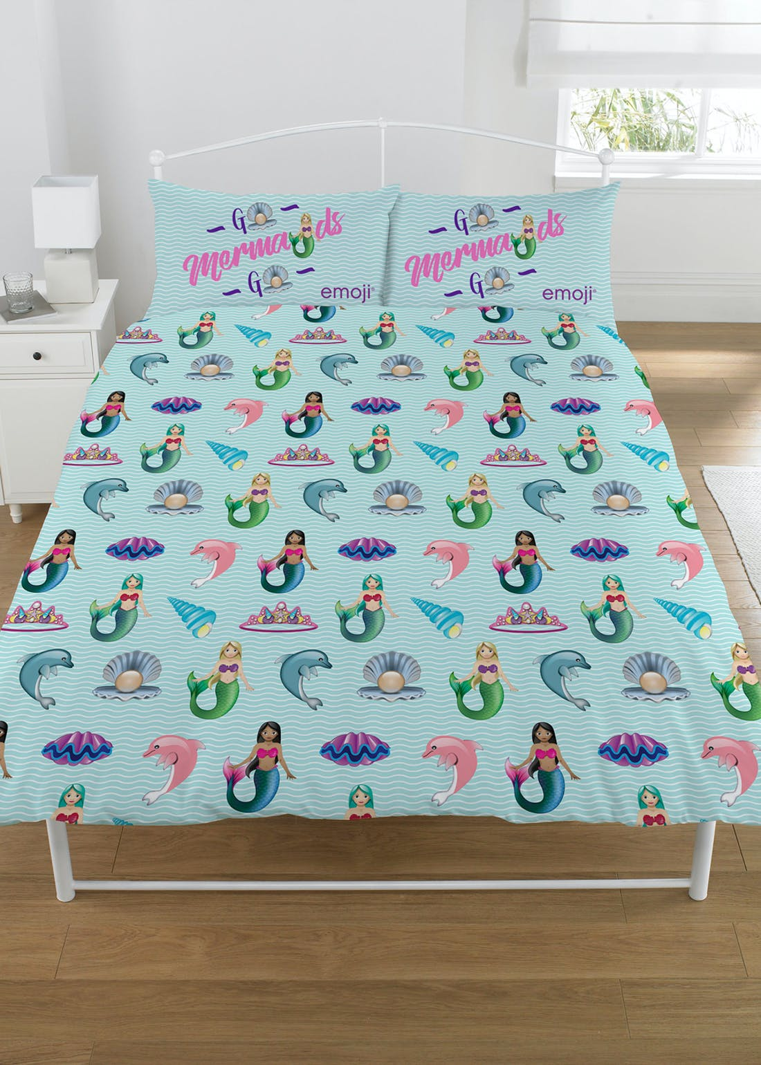 Kids Unicorn & Mermaid Emoji Reversible Duvet Cover (Single)
