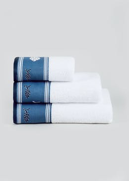 Fish Embroidered Border Towels