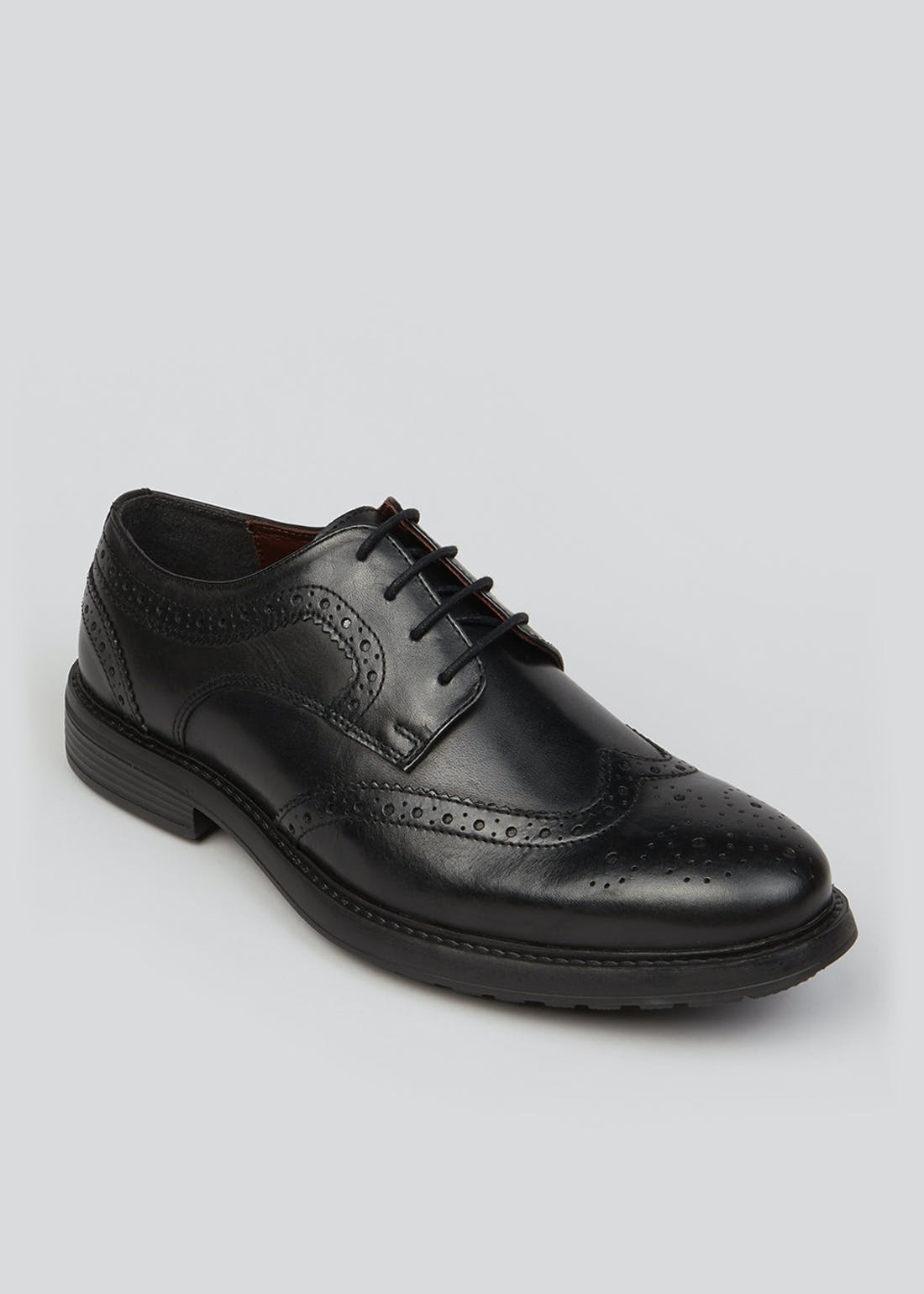 Soleflex Black Real Leather Lightweight Brogues